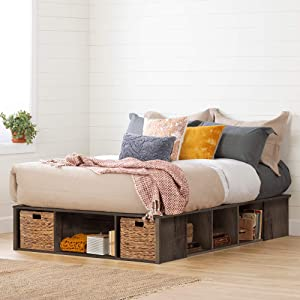 South Shore Storage Bed with Baskets, Double, Fall Oak