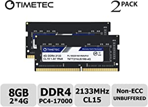 Timetec Hynix IC 8GB KIT (2x4GB) DDR4 2133MHz PC4-17000 Non ECC Unbuffered 1.2V CL15 1Rx8 Single Rank 260 Pin SODIMM Laptop Notebook Computer Memory Ram Module Upgrade (8GB KIT (2x4GB))