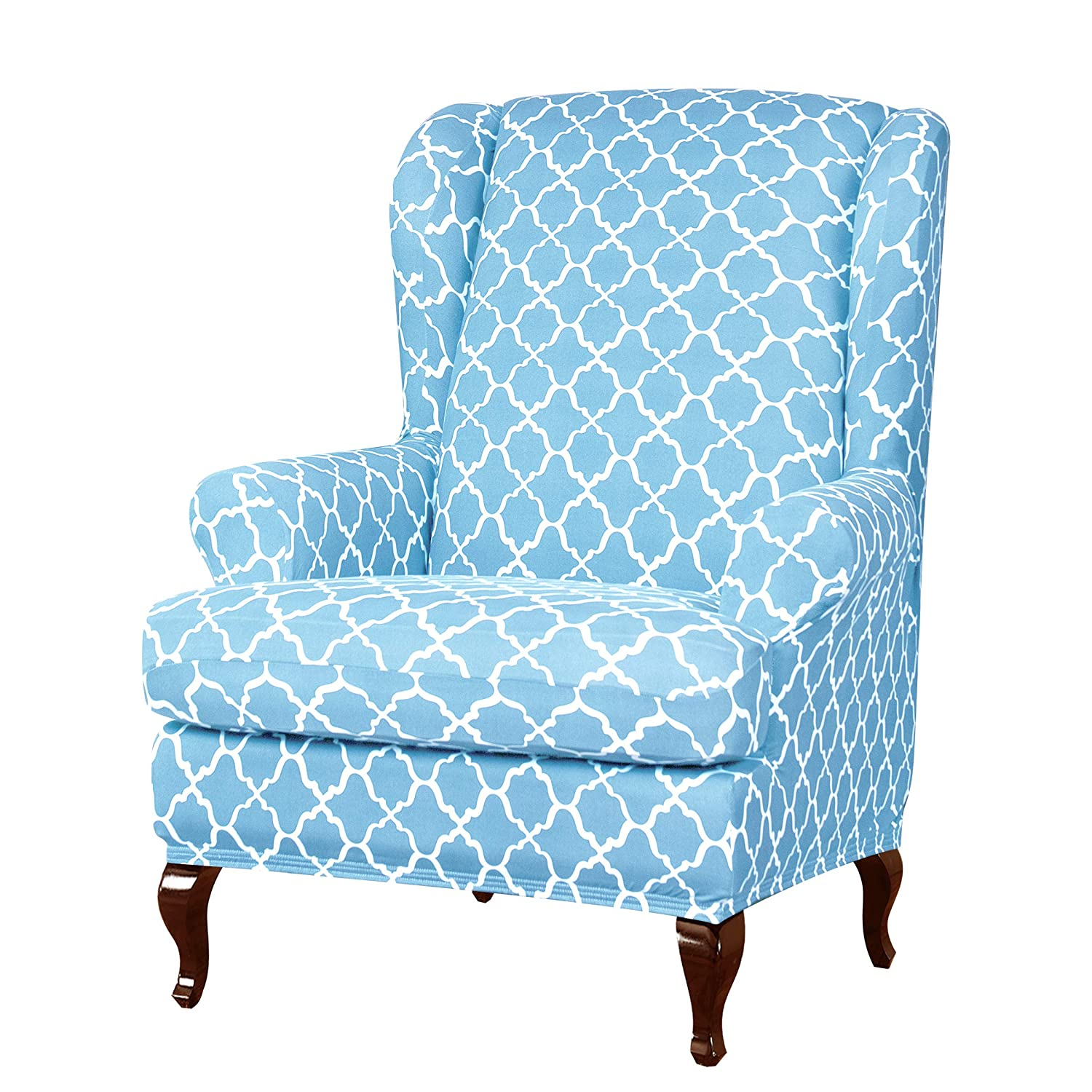 Subrtex 2pcs Wingback Chair Slipcovers Wing Chair Armchair Covers Detachable Spandex Printed Sofa Covers Furniture Protector(Blue)