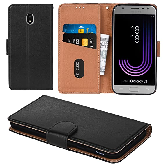size 40 4fc1a 15c79 Aicoco Galaxy J3 Pro 2017 Case, Flip Cover Leather, Phone Wallet Case for  Samsung Galaxy J3 Pro 2017 - Black