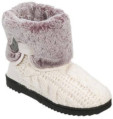 Amazon Dearfoams Womens Cable Knit Fold Down Slipper Boots