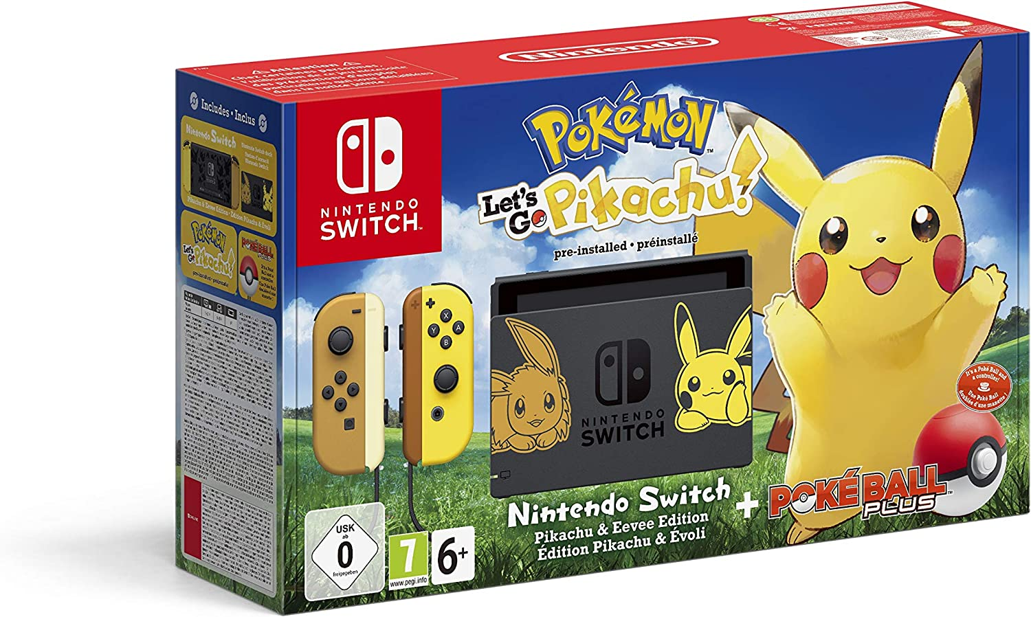 Nintendo Switch Pikachu & Eevee Edition + Pokémon: Lets Go, Pikachu! + Poké Ball Plus, Consola de video: Amazon.es: Videojuegos