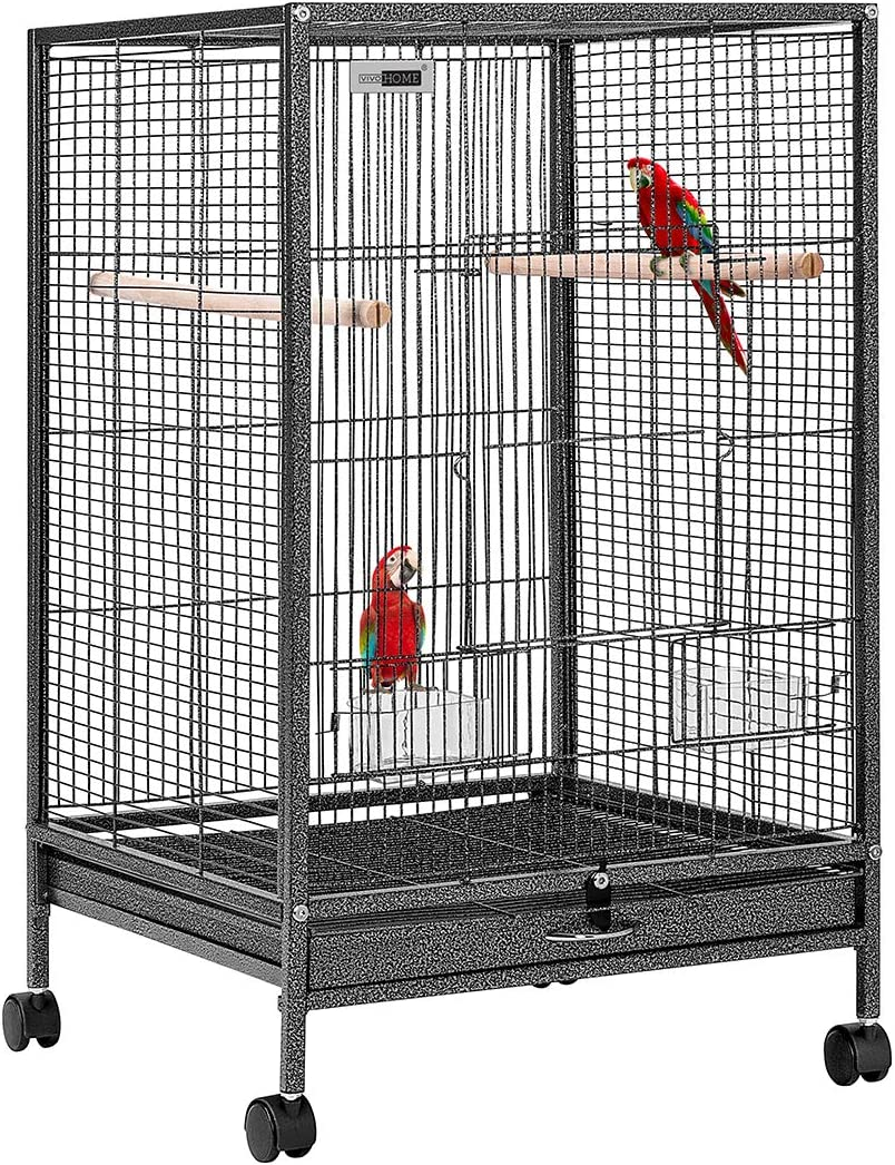 VIVOHOME 30 Inch Height Wrought Iron Bird Cage with Rolling Stand for Parrots Conure Lovebird Cockatiel
