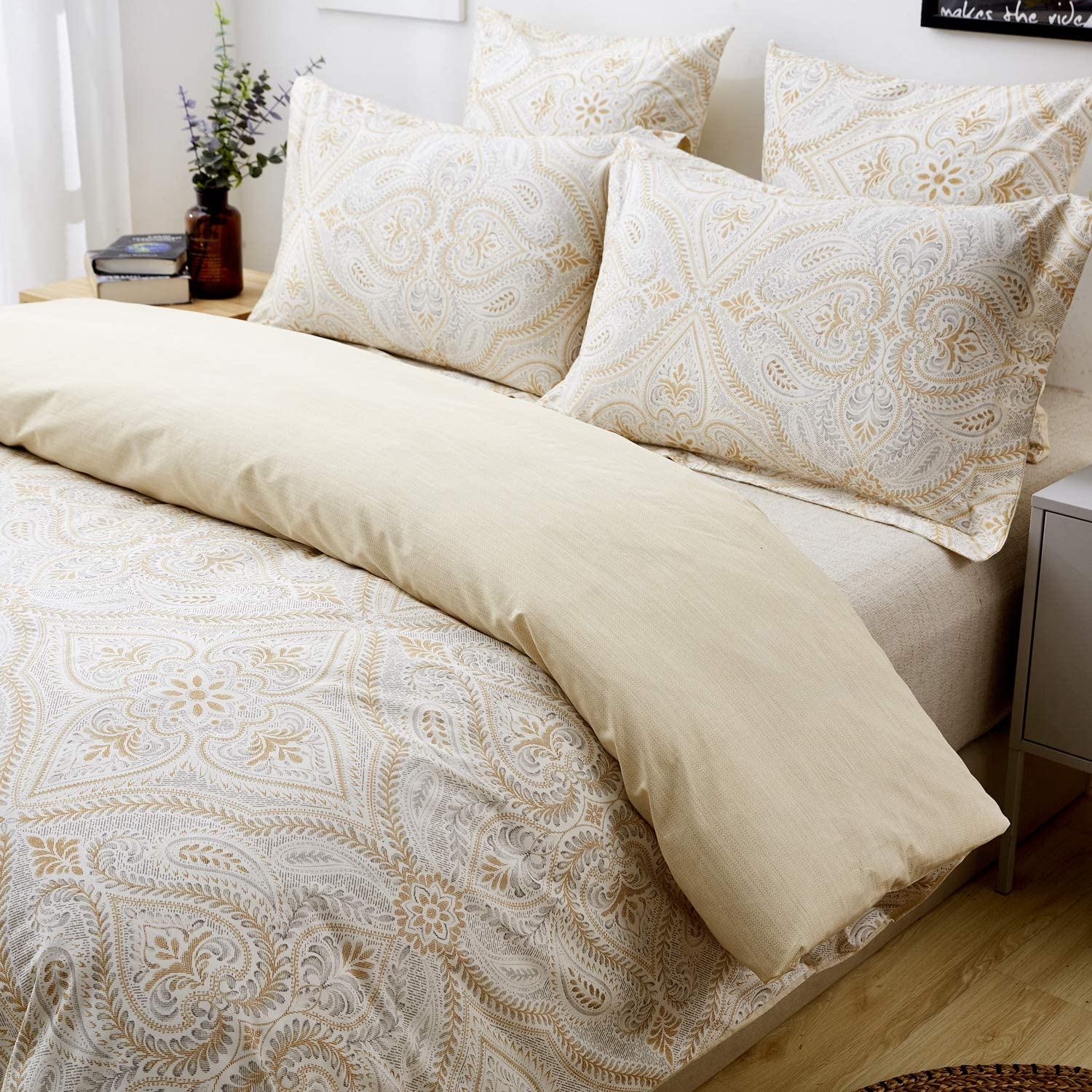 FADFAY Duvet Cover Set Twin XL Paisley Bedding 100% Cotton Soft Hypoallergenic Gold Classy Luxurious Bedding with Hidden Zipper Closure 3 Pieces, Twin Extra Long Size for Dorm Room