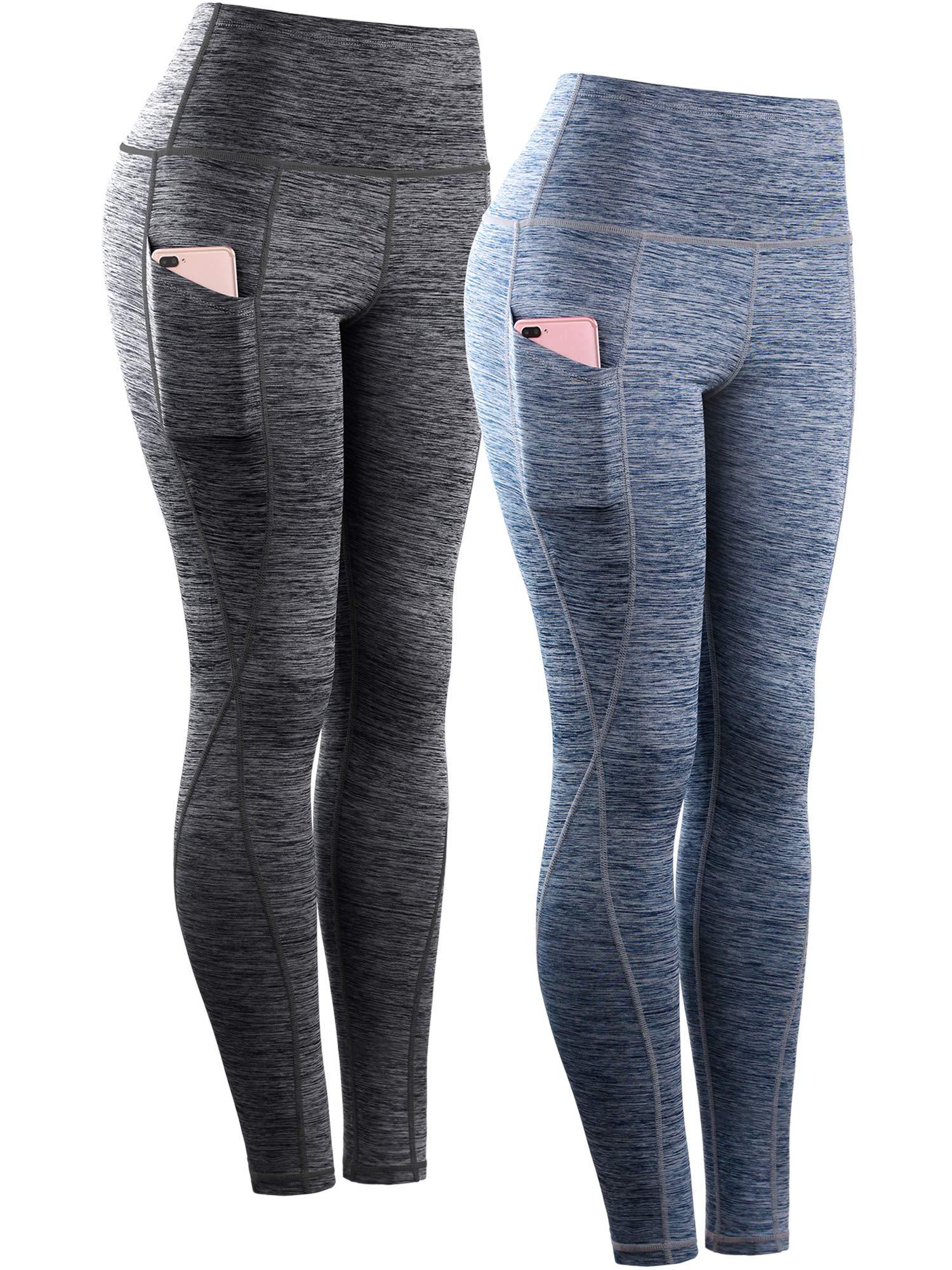 Neleus Tummy Control High Waist Workout Running Leggings for Women,9033,Yoga Pant 2 Pack,Black,Navy Blue,S,EU M