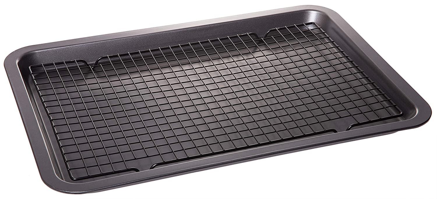 """Non stick Coated Baking Sheet Pan with Coolin Rack - Cookware Set - 17.75"""" X 13"""""""