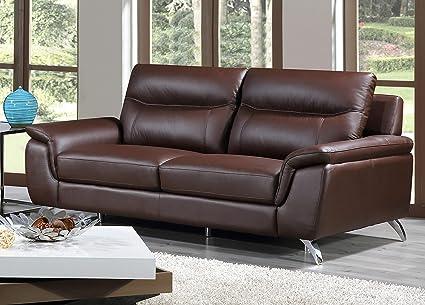 Cortesi Home Chicago Genuine Leather Sofa, Brown 79\