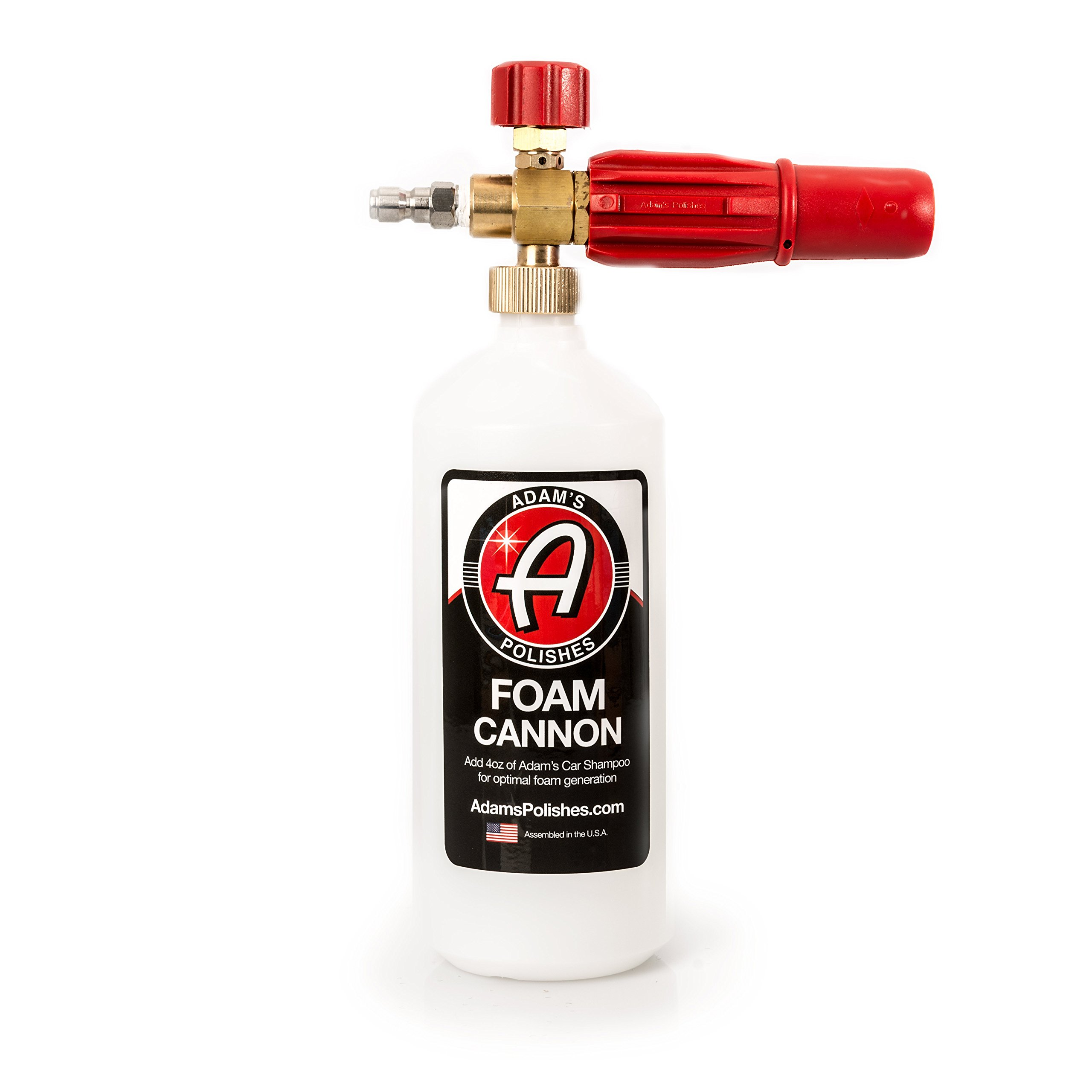 Adam's Red Foam Cannon - Produces Unbelievably Thick Snow Foam - Adjustable Air Intake Valve, Fan Pattern For Optimal Car Washing And Quick Connector For Pressure Washer Gun Blaster (Foam Cannon Only)