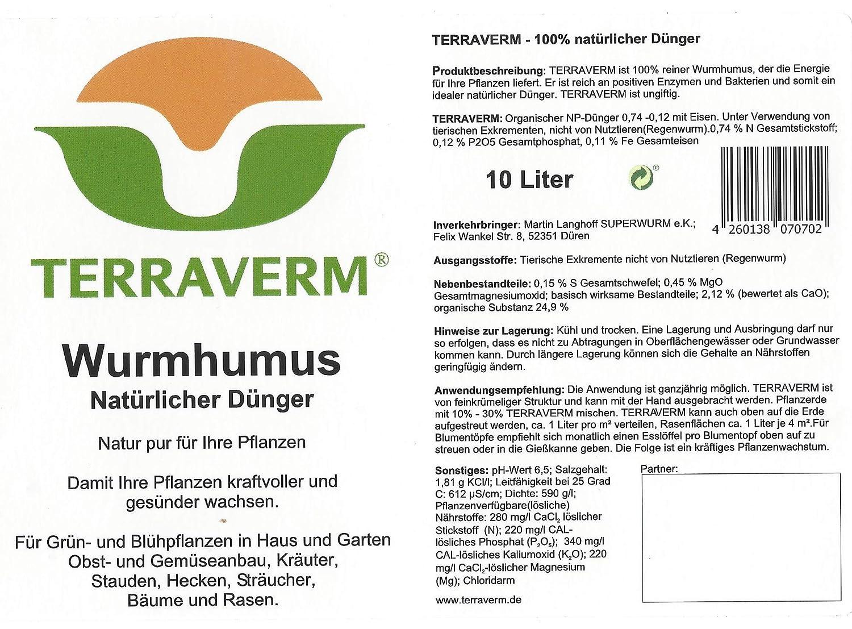 SUPERWURM Terra verm Gusano Humus - 40 litros: Amazon.es: Jardín