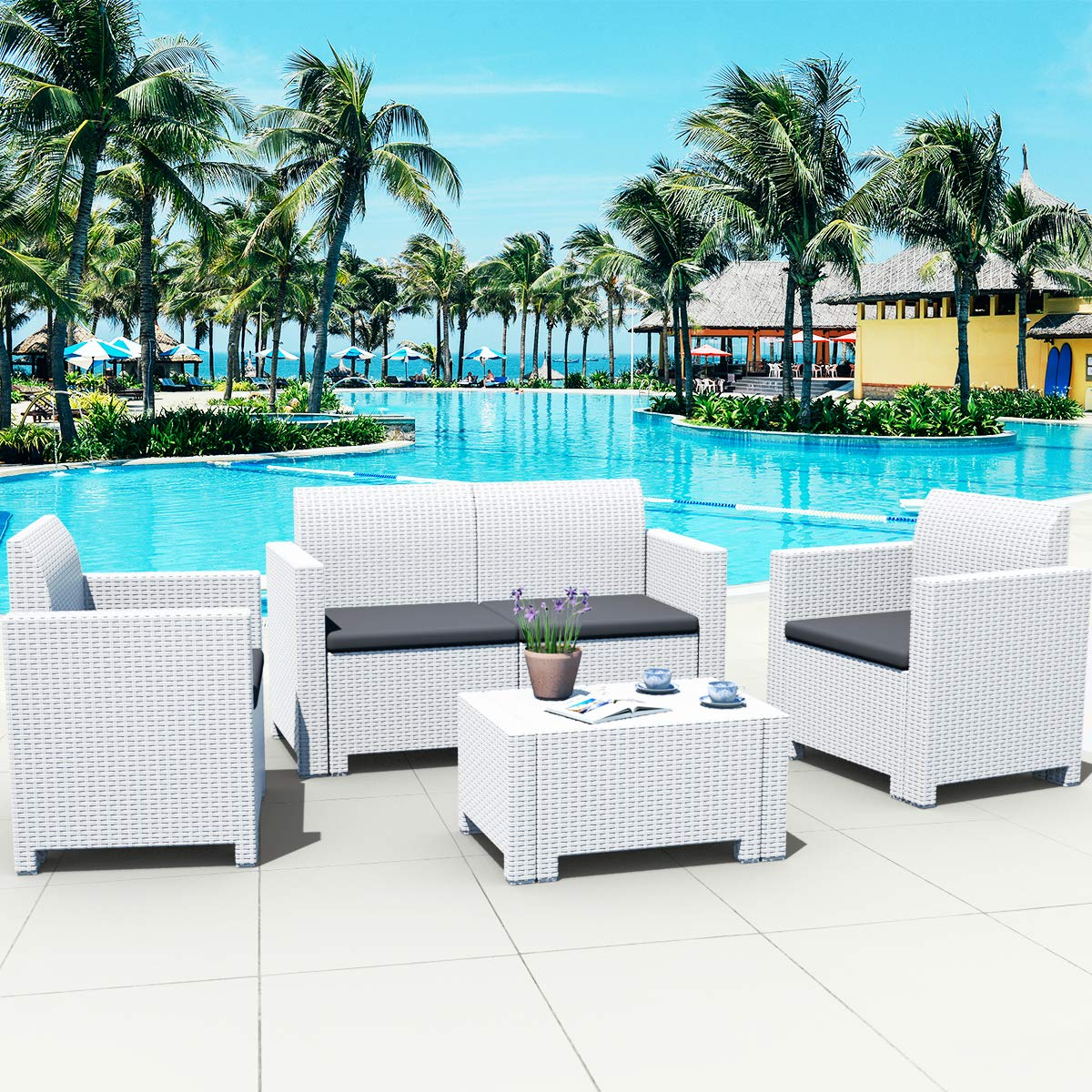 Tangkula 4-Piece Patio Furniture Set, Made in Italy Outdoor Wicker Conversation Set w Removable Cushion Sectional Sofa Set, for Backyard Porch Garden Poolside Balcony White