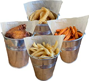 Goldenvalueable 12 Tinplate Metal Buckets for French Fries Garden Party 4.2 Inch Tin Pails with Bonus Stickers