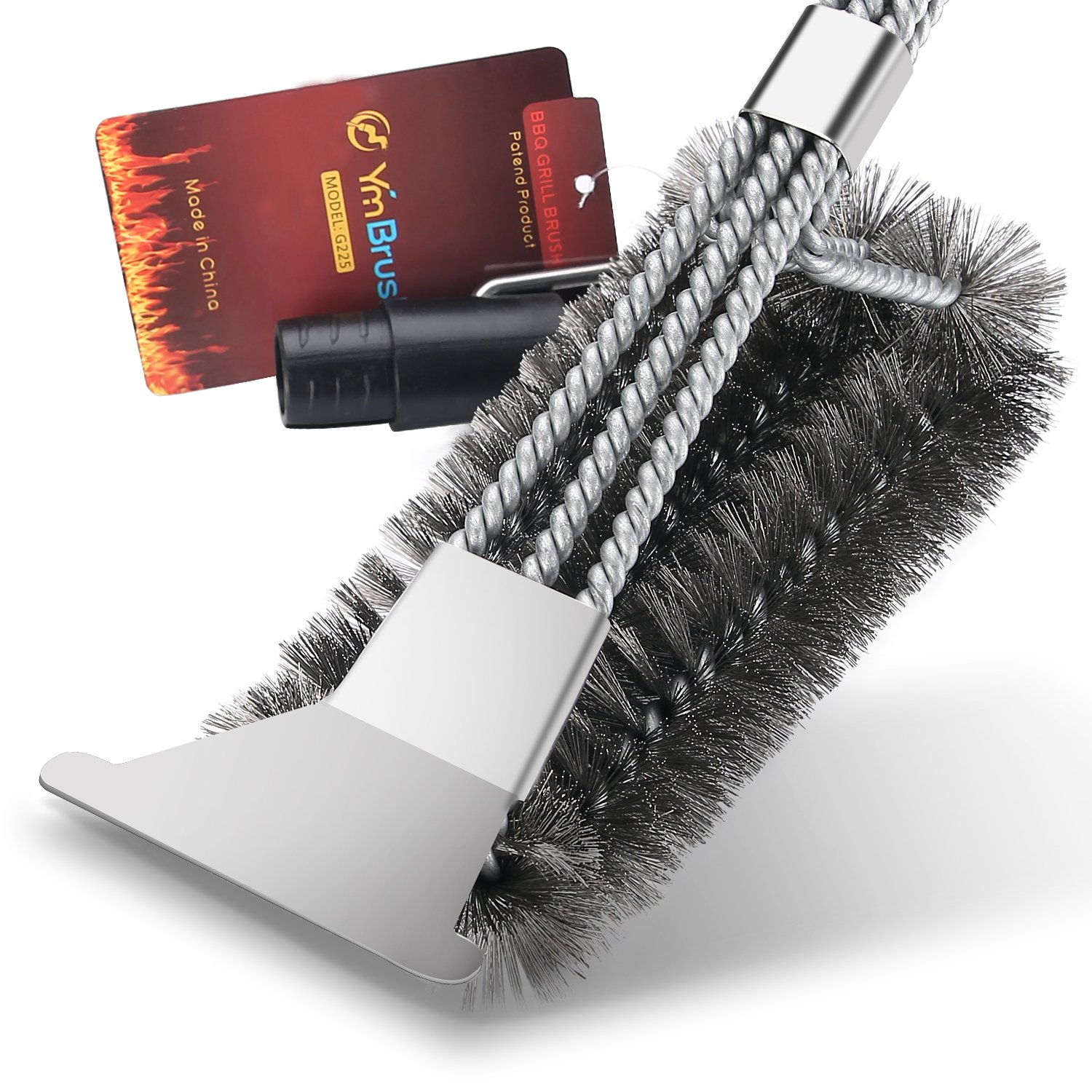 AOTOP Grill Brush and Scraper, BBQ Grill Brush Cleaner, 18'' Stainless Steel Woven Wire 3 in 1, Barbecue Grill Cleaning Brush Kit 360° Rotation Clean Safe, Durable & Effective Barbecue Tool
