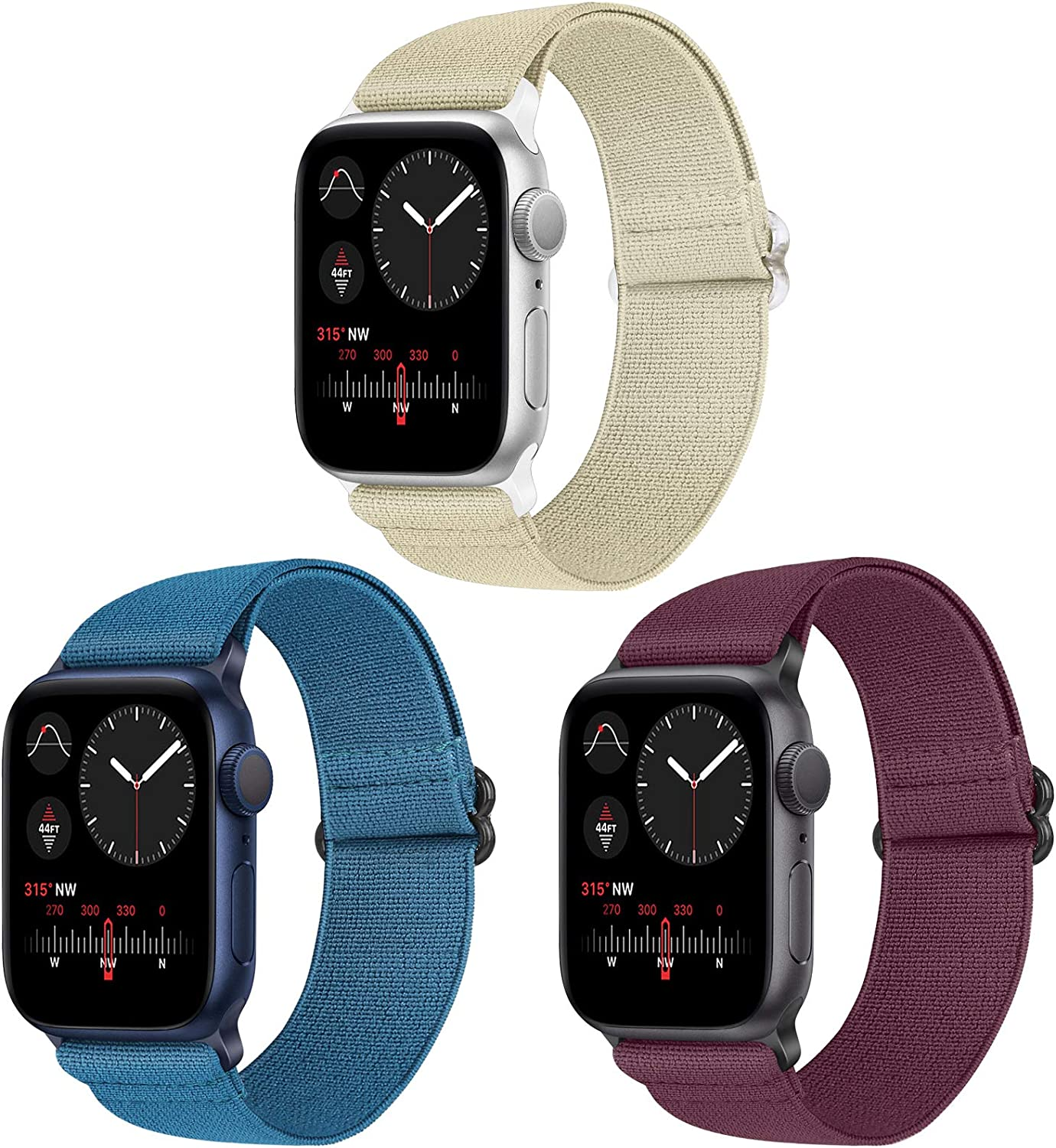 Vodtian Nylon Loop Elastic Watch Band Compatible with Apple Watch 42mm 44mm, Women Men Adjustable Replacement Sport Straps for iWatch Series 6/5/4/3/2/1/SE (Navy Blue+Wine Red+Camel, 42mm/44mm)