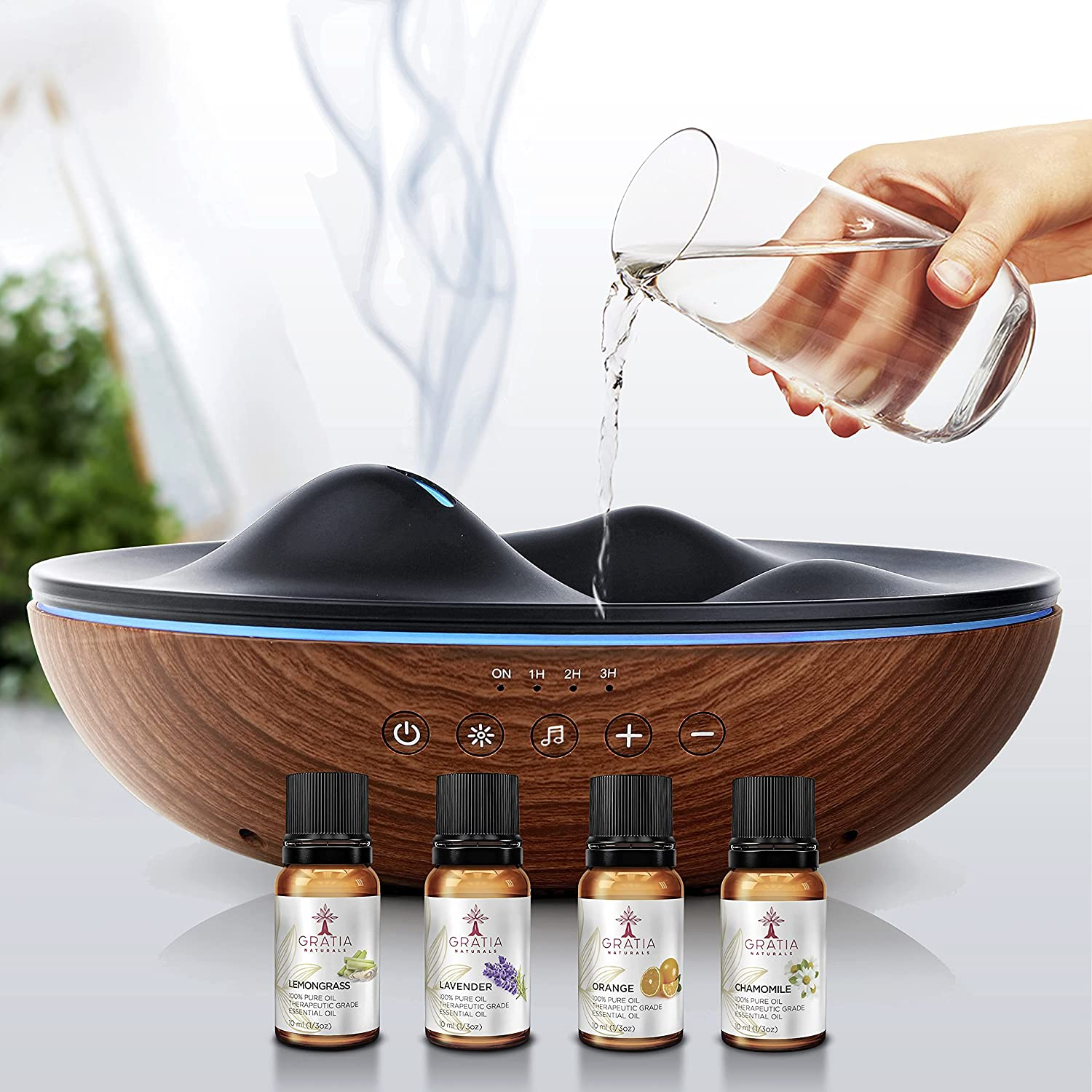 GRATIA NATURALS Aromatherapy Essential Oil Diffuser with Essential Oils Set, 6 Nature Relaxing Sounds, 7 Color Night Lights, Ultrasonic Silent Cool Mist Humidifier, Aroma Diffuser for Large Room