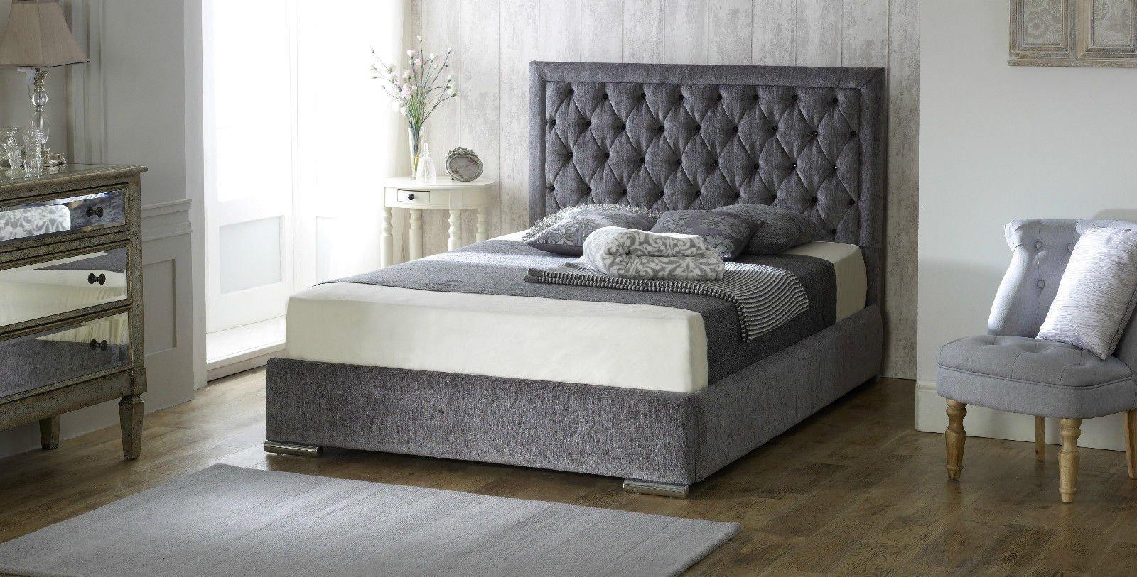 LayLowBeds Luxury Chelsea Chenille Fabric Upholstered Designer Bed Frame  Diamond Cross Hatch Pattern Studded Headboard