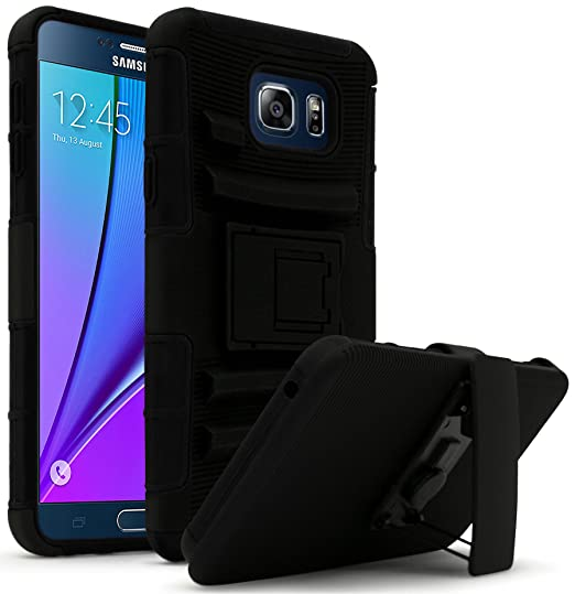 new style e1bf3 649f9 Samsung Galaxy Note 5 Case, Bastex Hybrid Heavy Duty Protection Rugged  Black Rubber Silicone Cover Hard Plastic Black Kickstand Case with Holster  for ...