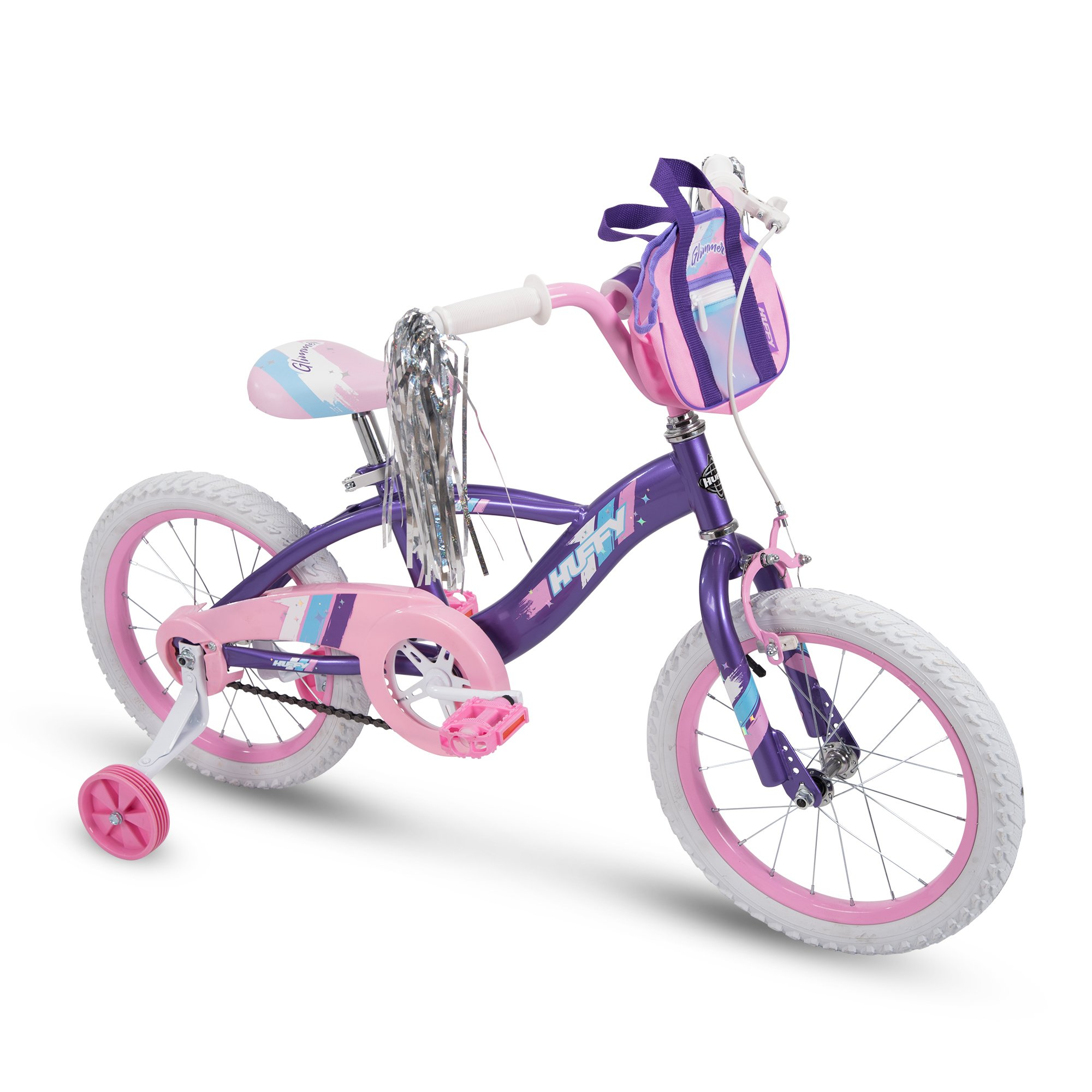 Huffy Glimmer Girls Bike with Training Wheels and Streamers