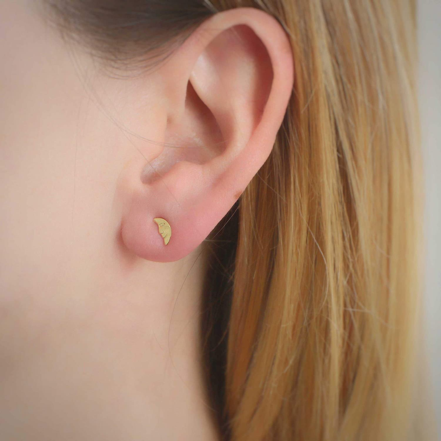 Details about  /Solid Metal 14K Rose Gold Plated Moon Shape Tiny Stud Earrings Gift For Her