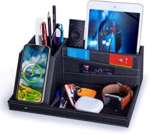 FutureCharger Fast Wireless Charger Desk Organizer USB Charging Station,for iPhone 11 Pro X XS MAX XR 8 Plus and Samsung S7 Edge S8 S9 Plus Note 8 9and More,Desk Storage Caddy Pen Pad Holder (Black)