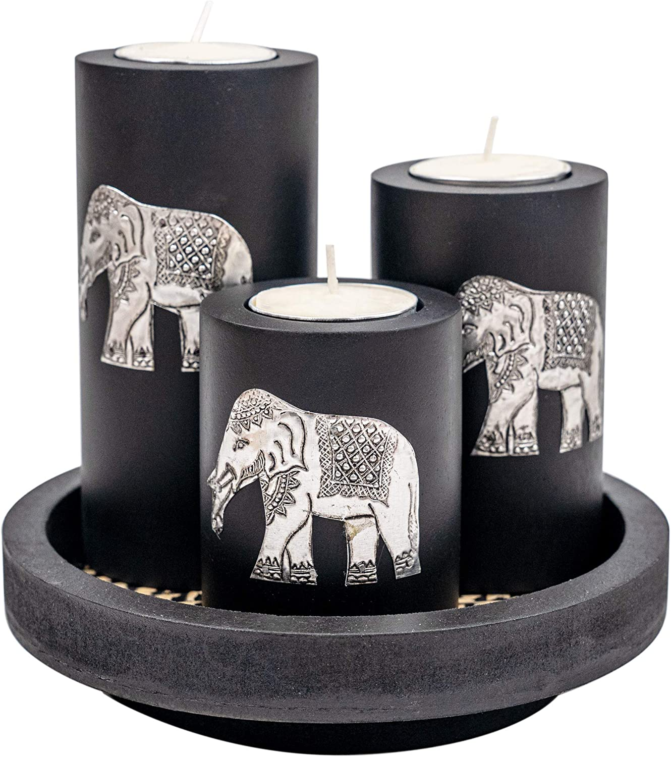 IYARA CRAFT 3 Wooden Candle Holders with Candle Tray – Decorative Candle Holders with Inlaid Aluminium Antique Elephant – Intricate Details – Matte Wood Finish – Ideal for Modern & Rustic Settings