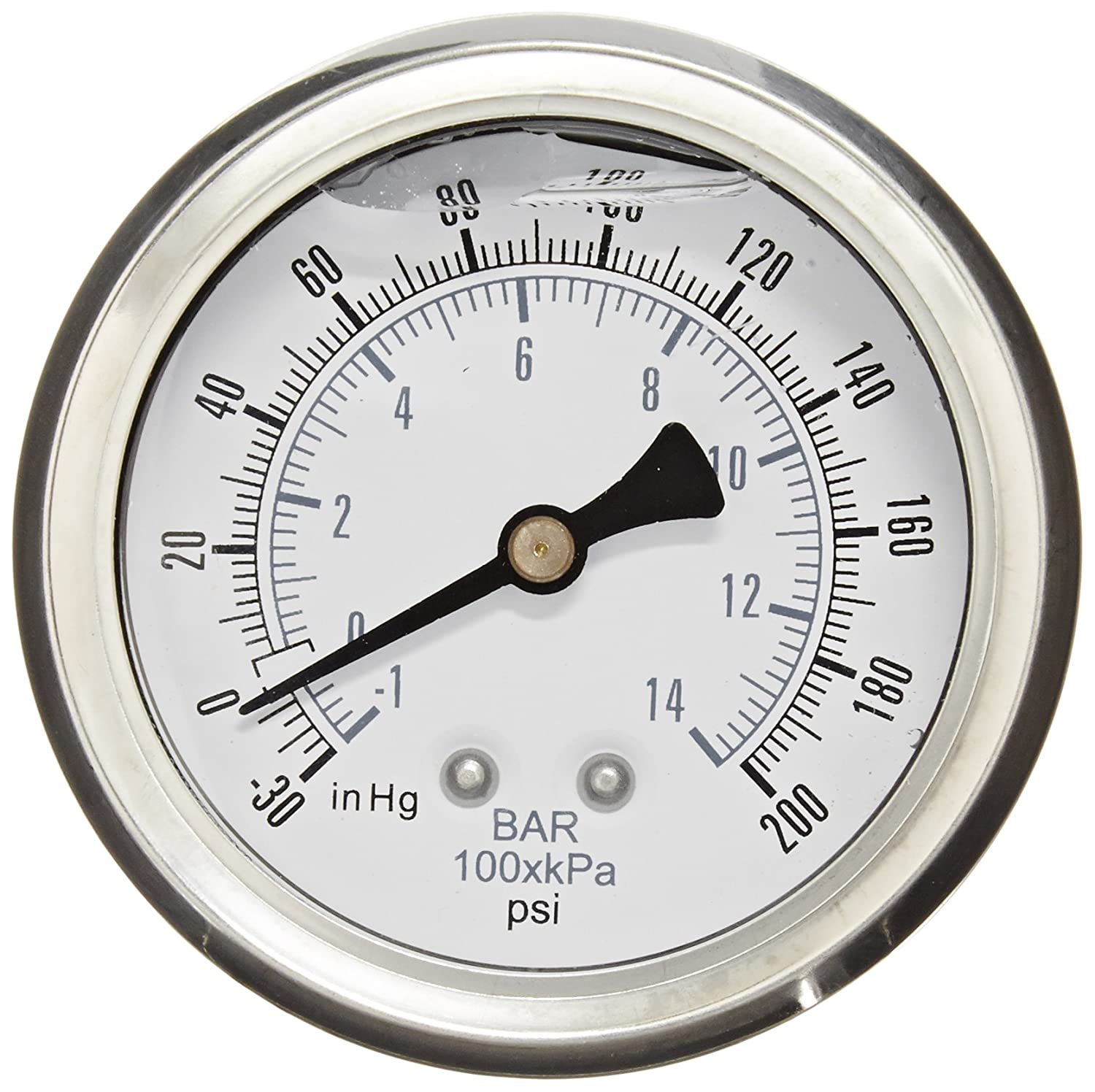 PIC Gauge PRO 202L 254CG Glycerin Filled Industrial Center Back Mount Pressure Gauge with Stainless Steel Case Brass Internals Plastic Lens 2 1 2 Dial Size 1 4 Male NPT 30 0 200 psi