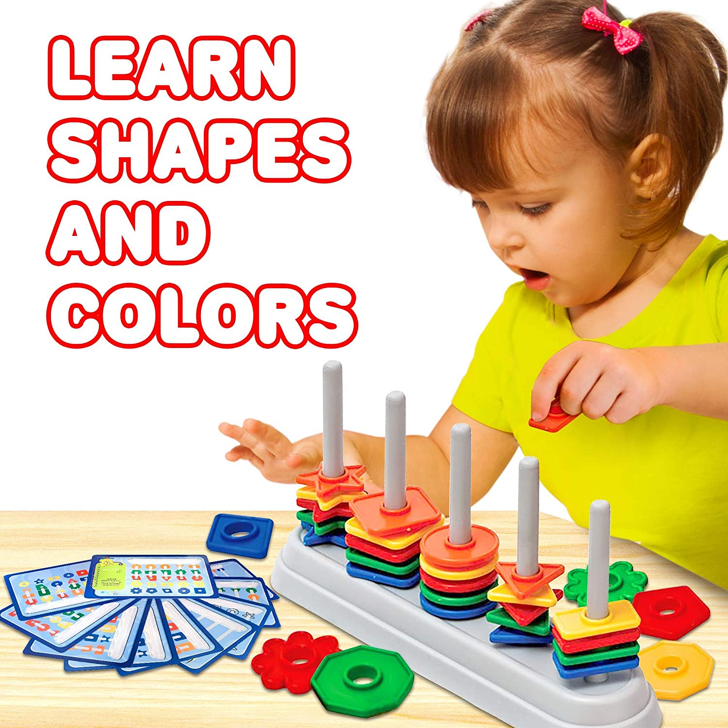 Toddlers and Instructions Educational Learning Toy for Boys 50 Shape Pieces Gamie Color and Shape Matching Game for Kids 10 Work Cards for 3-6 Year Olds Includes Sorting Bar Girls