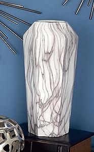 """Deco 79 60770 Geometrically-Shaped Marbled Ceramic Vase, 14"""" x 6"""", Black/White"""