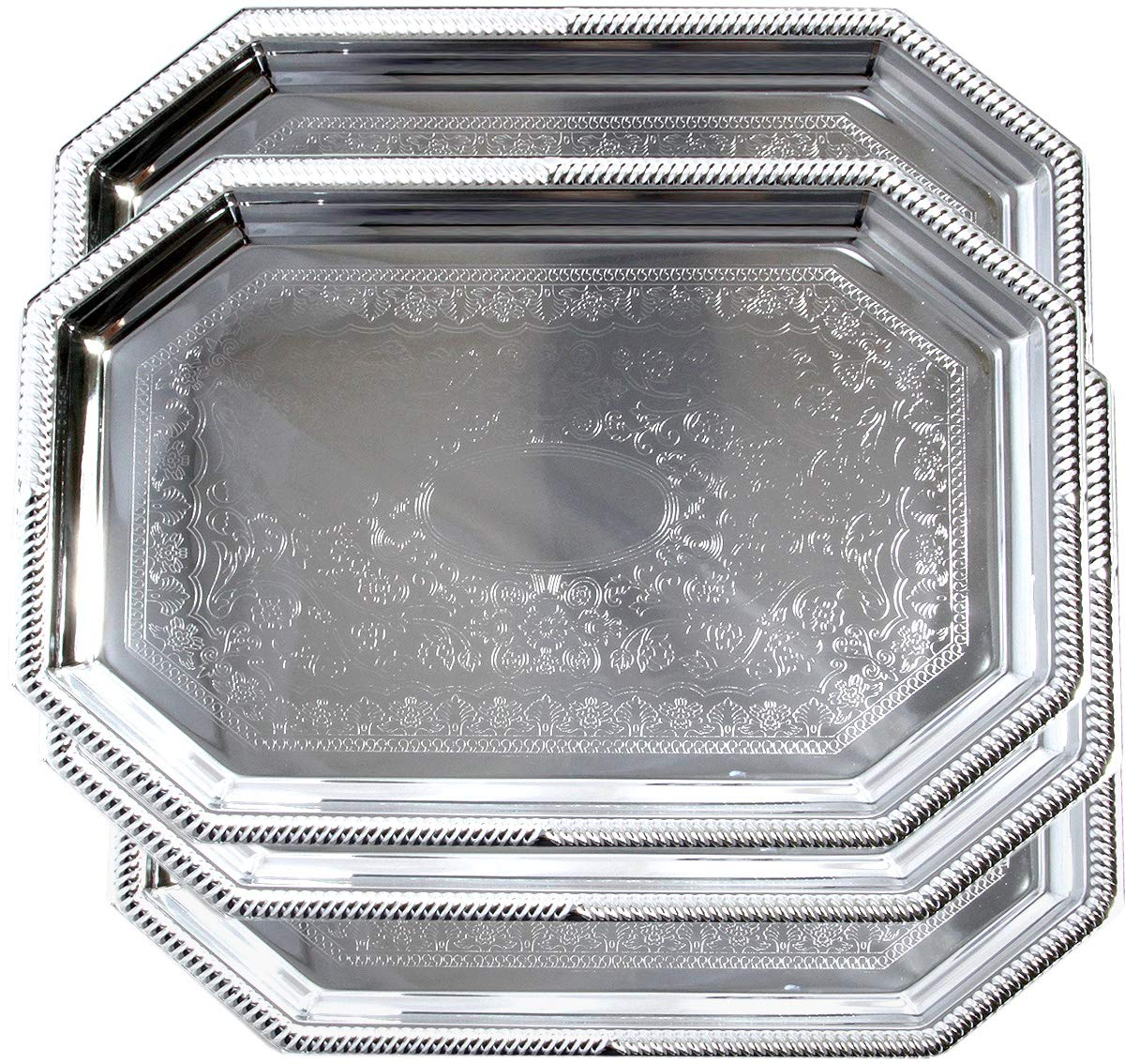 Maro Megastore (Pack of 4) 20.1'' x 13.8'' Octagonal Floral Victoria Engraved Cater Chrome Plated Serving Plate Mirror Serving Tray Platter Food Art Presentation Wedding Birthday Party (Large) T155L-4PK by Maro Megastore