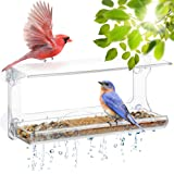DF OMER Weatherproof Polycarbonat Window Bird Feeder with Strong Suction Cups, Drainage Holes, and 3-Sectioned Removable…