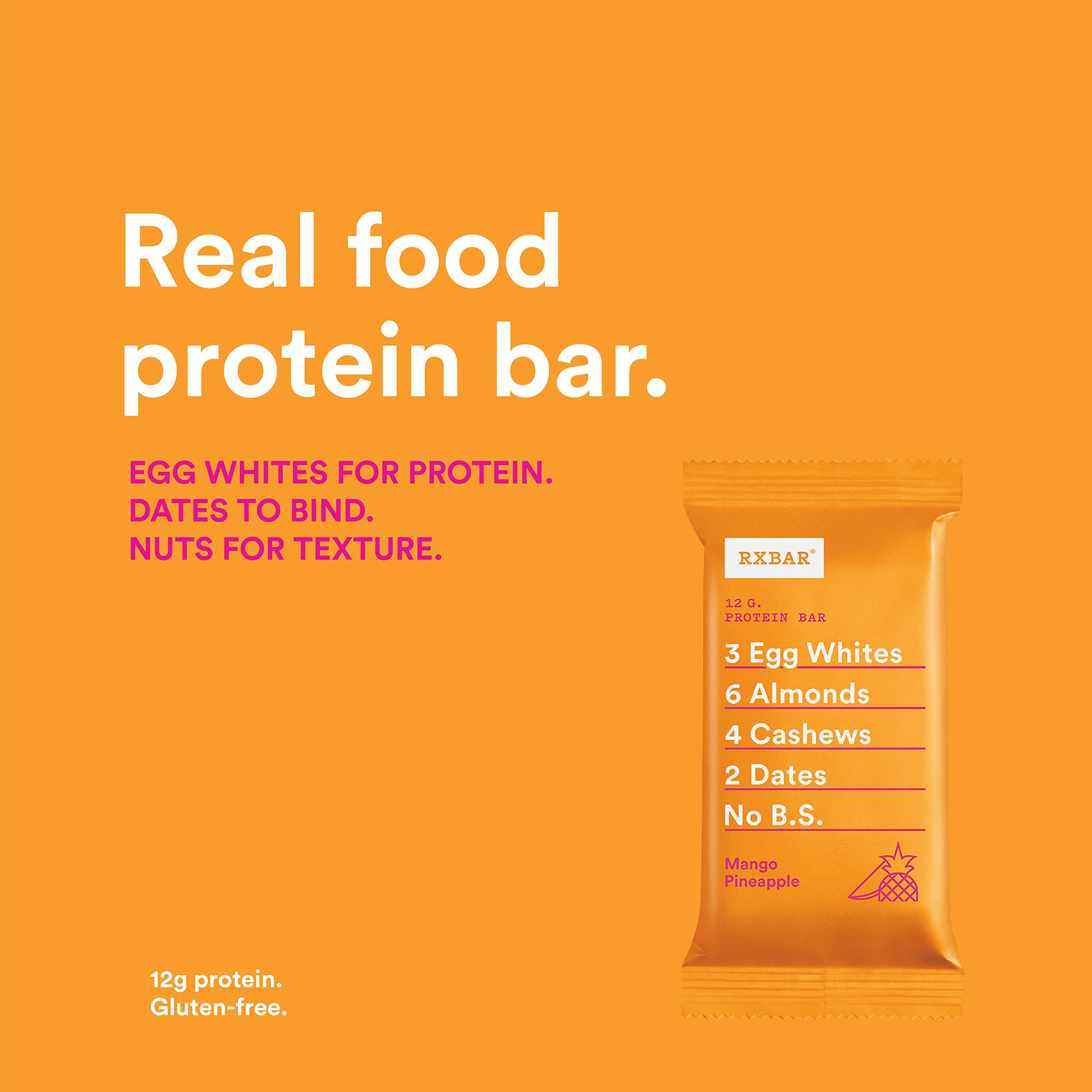 RXBAR Real Food Protein Bar, Mango Pineapple, Gluten Free, 1.83oz Bars, 24 Count by RXBAR (Image #3)