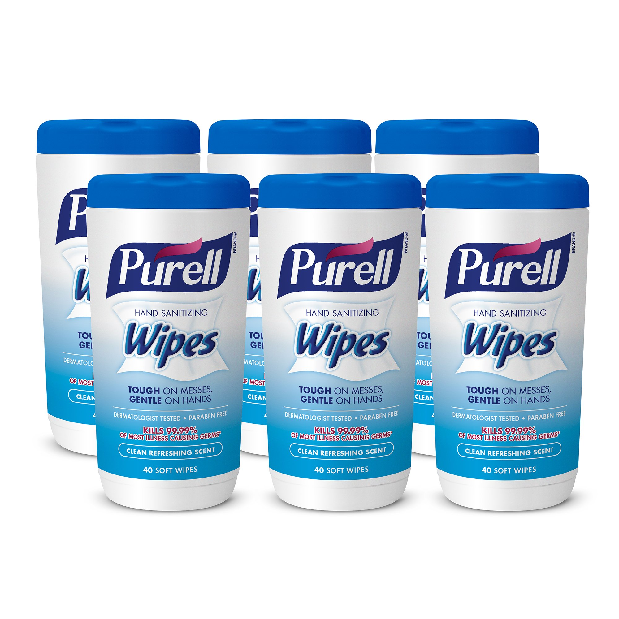 PURELL Hand Sanitizing Wipes, Clean Refreshing Scent, 40 Count Non-Alcohol Sanitizing Wipes Canister (Pack of 6) - 9120-06-CMR by Purell