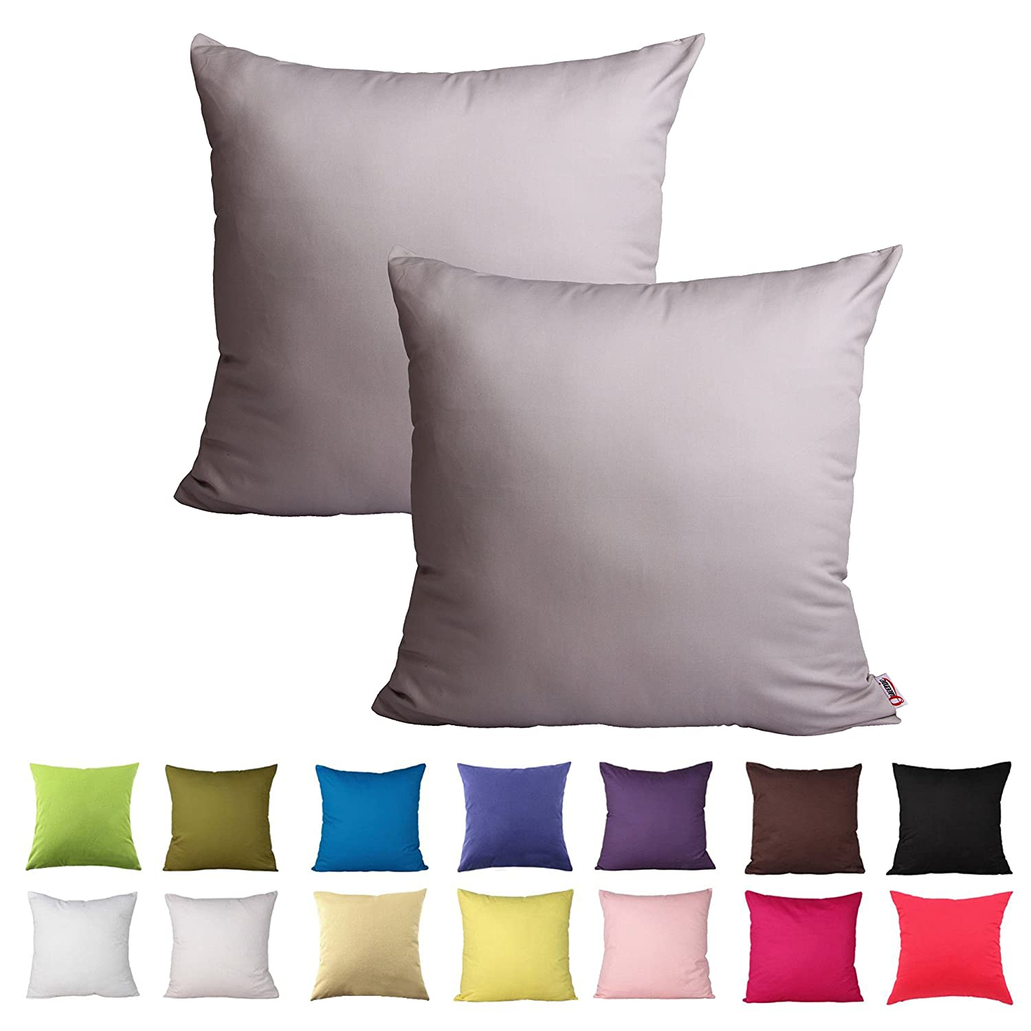 , Black 16 X 16 Inch 40 X 40 Cm 2 Pcs Solid Color Cotton Decorative Pillowcase Cushion Cover for Sofa Throw Pillow Case Available in 14 Colors /& 5 Sizes Queenie/®