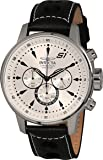 Invicta 23599 Men's S1 Rally Silver Dial Black Leather Strap Chronograph Watch