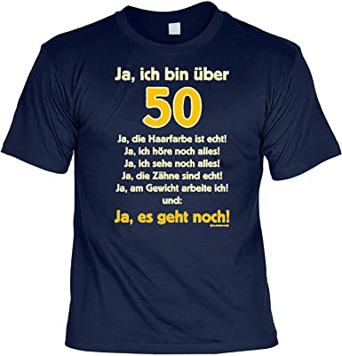 sabuy T-Shirt mit Urkunde - Ja, ich bin über 50 - lustiges Sprüche Shirt  als Geschenk zum fünfzigsten Geburtstag gratis Zertifikat!  Amazon.de   Bekleidung ff4253f43a