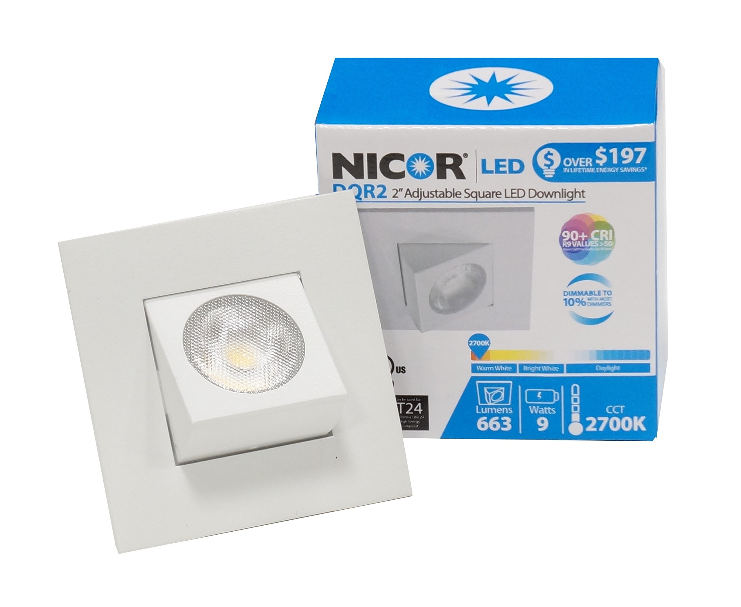 NICOR Lighting 2-Inch Adjustable Square Eyeball 2700K LED Downlight Fixture for 2-Inch Recessed Housings, White (DQR2-AA-10-120-2K-WH) by NICOR Lighting (Image #1)