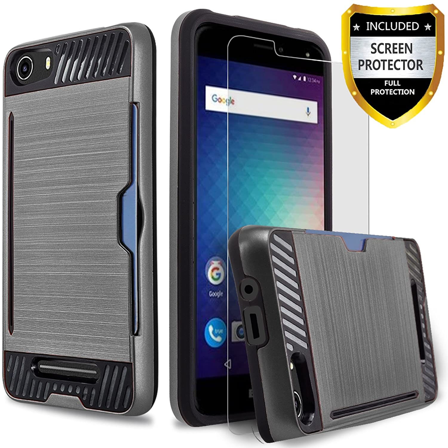 BLU Advance 5.0 Case, [Not Fit BLU Advance 5.0 HD] Circlemalls 2-Piece Style Hybrid Shockproof Hard Case Cover With [Premium Screen Protector] And Touch Screen Pen (Black)