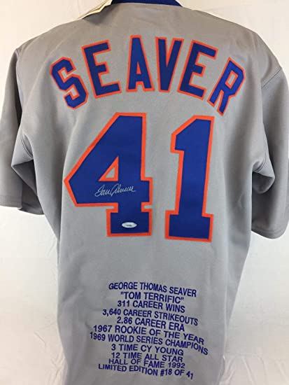 best service 6154e 77431 Tom Seaver Autographed Jersey - Cooperstown stat coa NY ...