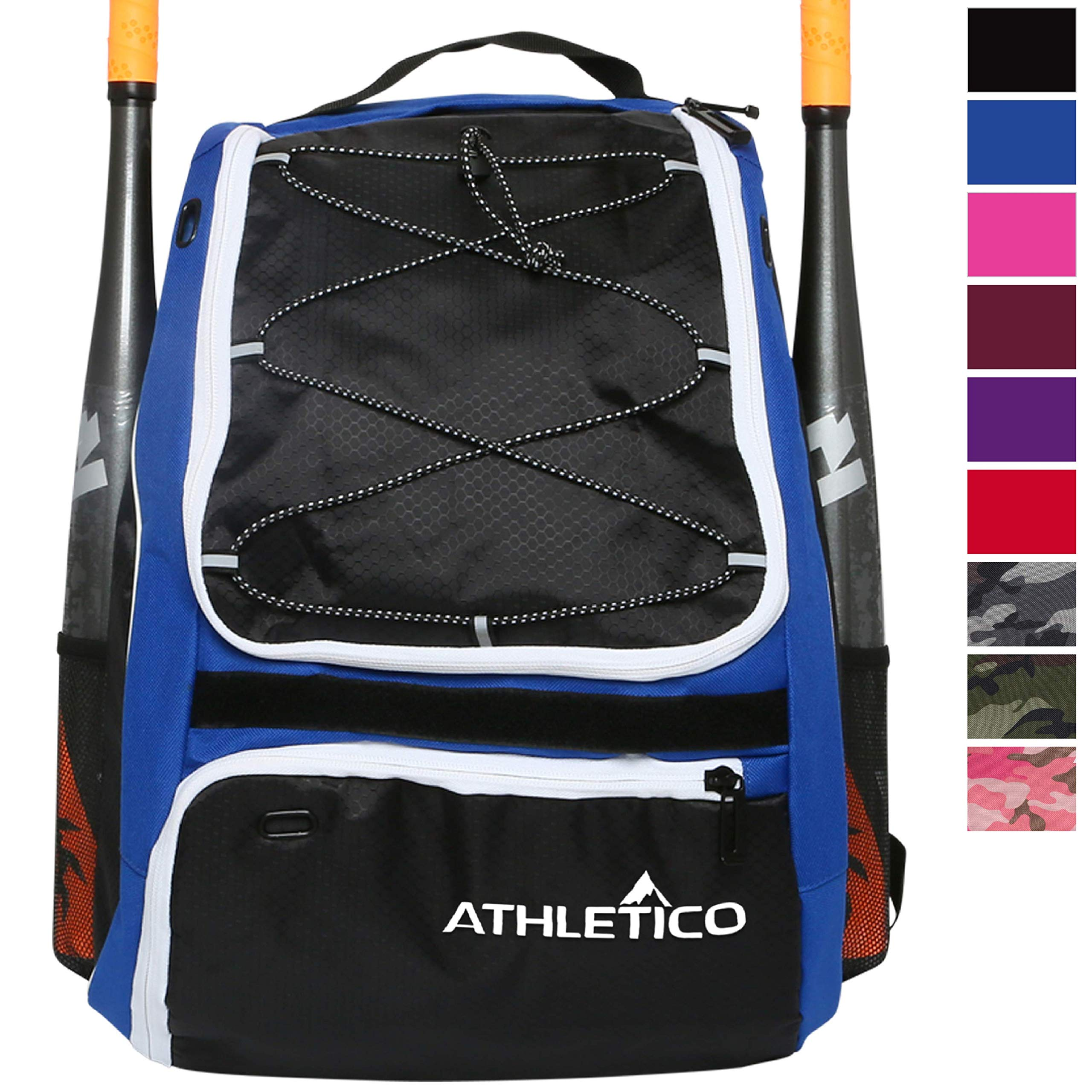 Athletico Baseball Bat Bag - Backpack for Baseball, T-Ball & Softball Equipment & Gear for Youth and Adults | Holds Bat, Helmet, Glove, Shoes | Separate Shoe Compartment & Fence Hook (Blue) by Athletico