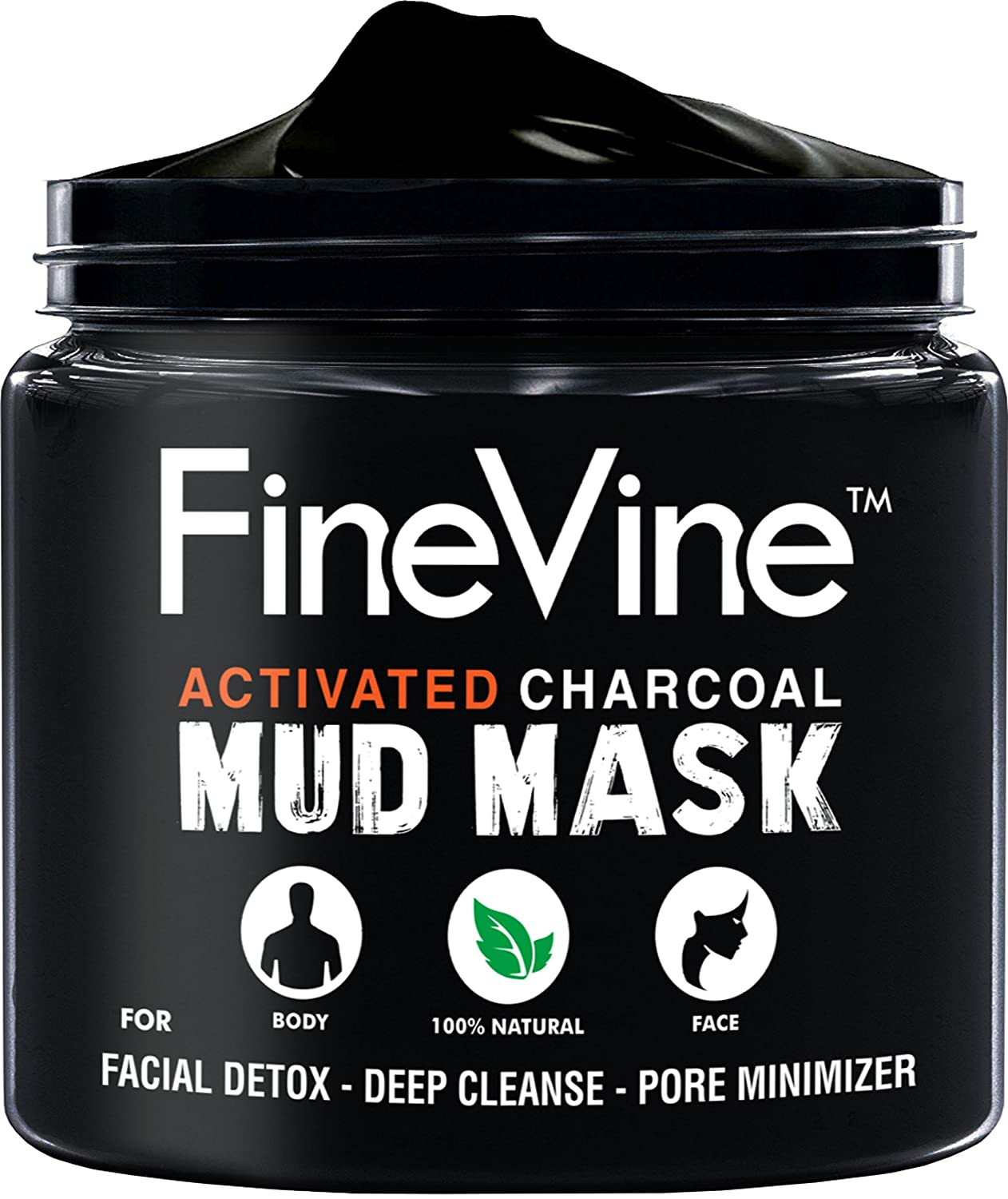 Activated Charcoal Mud Mask - Made in USA - For Deep Cleansing & Exfoliation, Pore Minimizer & Reduces Wrinkles, Acne Scars, Blackhead Remover & Anti Cellulite Treatment, Face Mask & Facial Cleanser. FineVine Organics