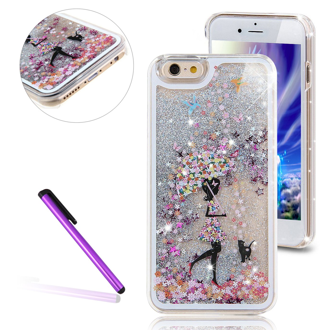 EMAXELERS iPhone 7 Plus 3Dキラキラ輝く蝶妖精の女の子デザイン流れる液体耐衝撃クリアハードケースfor iPhone 7 plus 5.5インチ、シルバーリキッドアンブレラガール   B01LYO0WJT