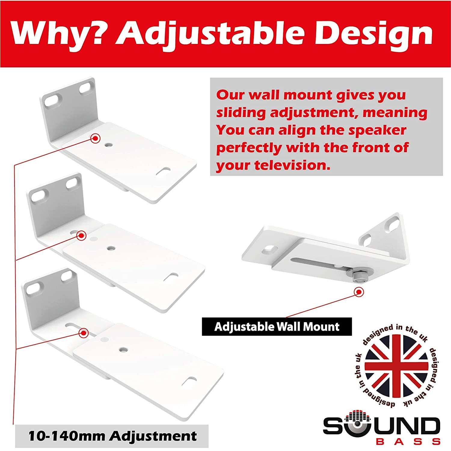 Designed in The UK by Soundbass Solo 5 Wall Mount Kit for Bose Solo 5 Complete with All Mounting Hardware