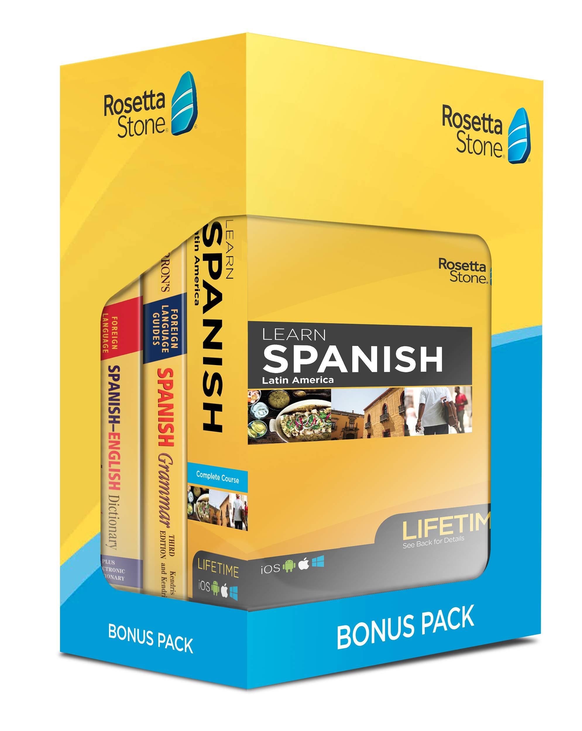 Learn Spanish: Rosetta Stone Bonus Pack Bundle (Lifetime Online Access + Grammar Guide and Dictionary Book Set) by Rosetta Stone