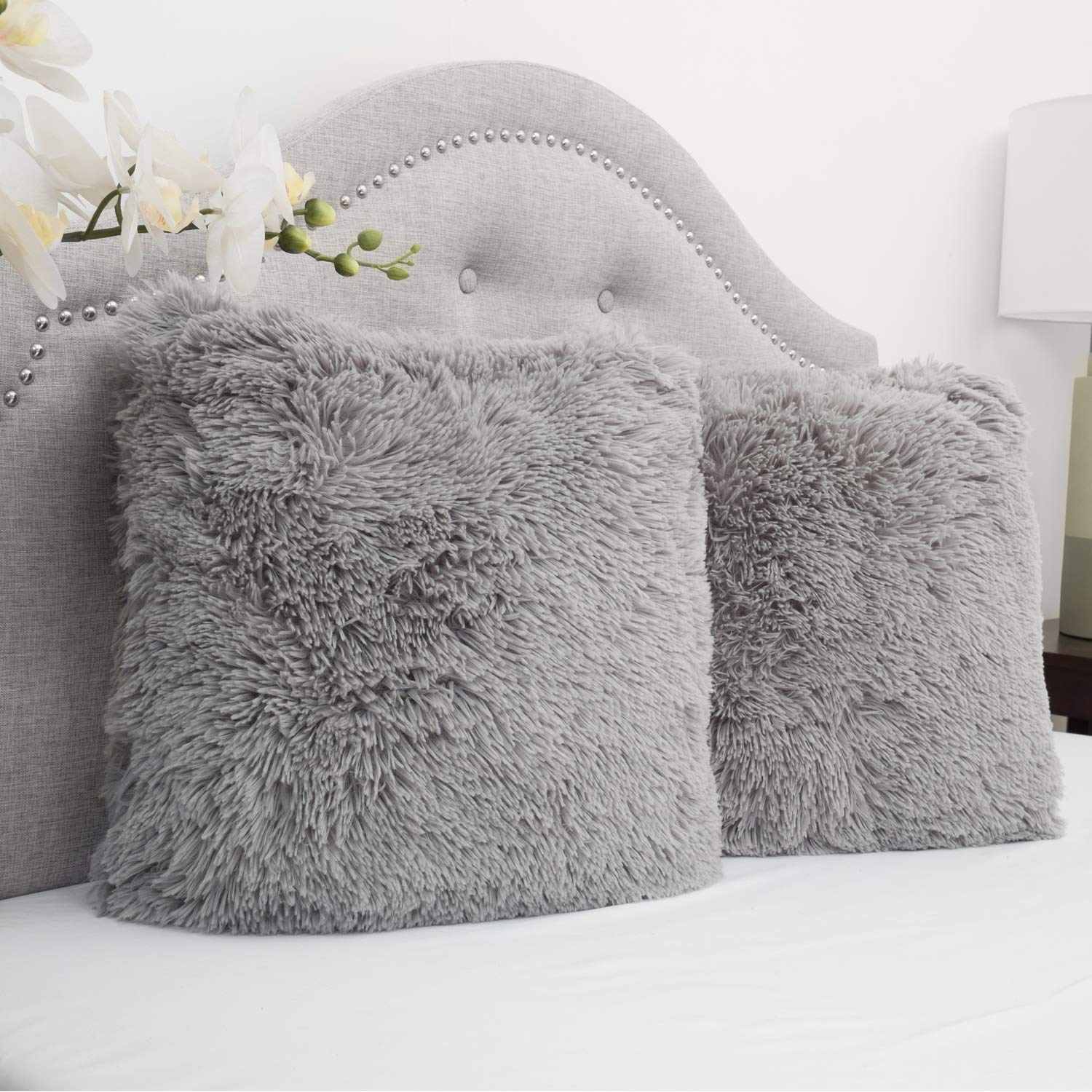 Chocolate 2-Pack Sweet Home Collection Plush Faux Fur Soft and Comfy Throw Pillow