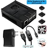 Smraza for Raspberry Pi 3 B+ Case with Fan + Heatsinks + 2.5A Power Adapter + Micro USB Cable w/On Off Switch for Pi 3B plus, 3 Model B, 2B (Fit for 2018 New Pi 3b+)