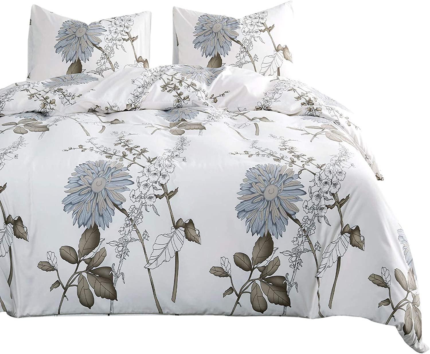 Wake In Cloud - Floral Comforter Set, Botanical Flowers Pattern Printed, Soft Microfiber Bedding (3pcs, Queen Size)