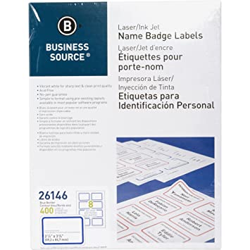 Amazon.com : Business Source Laser/Inkjet Name Badge Labels ...
