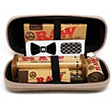 Bundle - 7 Items - RAW Hard Shell Travel Case with 1 1/4 Rolling Paper, 79mm Roller, Tips, Hemp Wick and Hippie Butler…