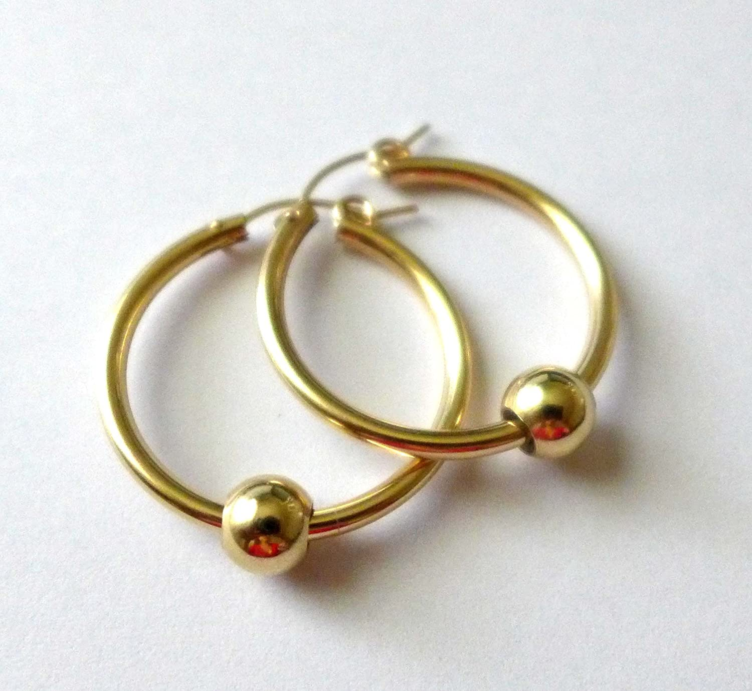 1.125 28mm Cape Cod Gold Filled 2.3mm Round hoop earrings EB05