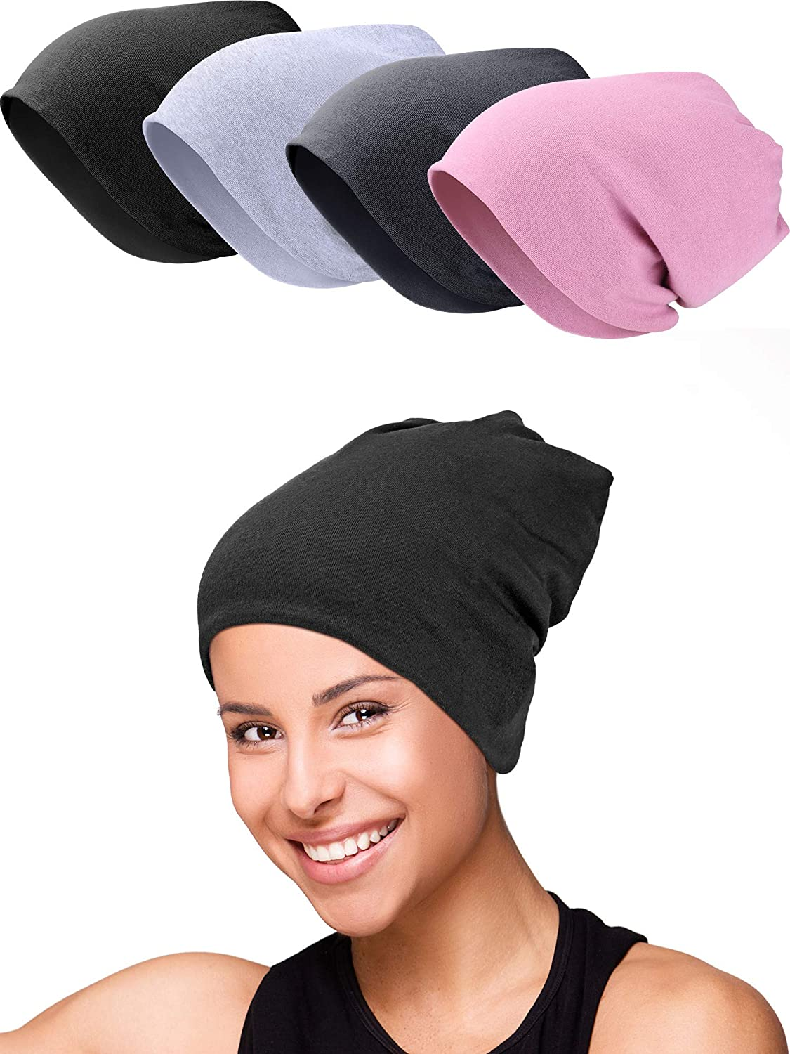 4 Pieces Unisex Sleep Hat Slouchy Beanie Caps Bamboo Cotton Slap Headwear, 4 Colors