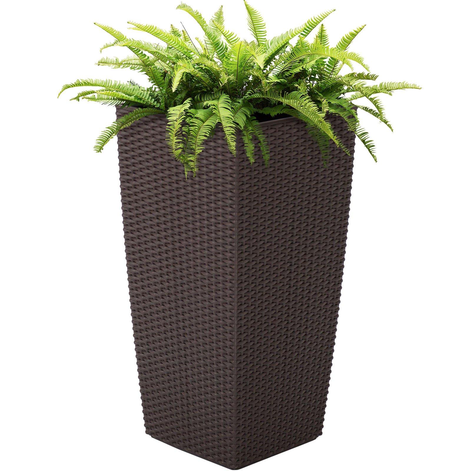 New Brown Self Watering Garden Patio Wicker Planter W Rolling Wheels Outdoor/Indoor